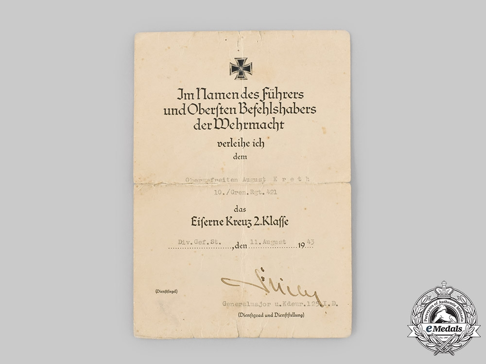 Germany, Wehrmacht. An Iron Cross II Class Award Document to Corporal August Kreth, 1943
