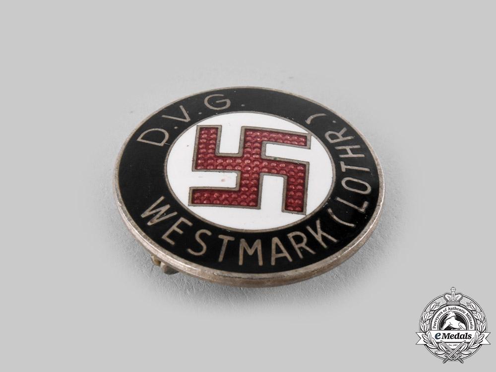 Germany, DVG. A Deutscher Volksgenossen Bund (DVG) Lorraine Region Membership Badge by Werner Redo