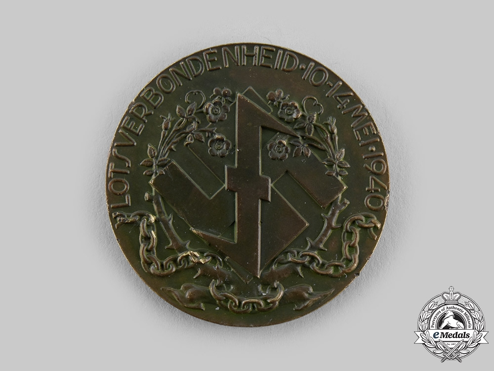 Netherlands, NSB. A 1940 National Socialist Movement (NSB) Dutch-German Solidarity Medallion