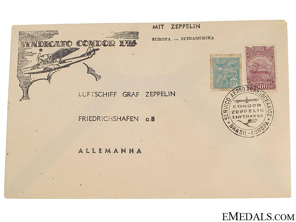 Condor Zeppelin Air Mail Brazzil Envelope 1930