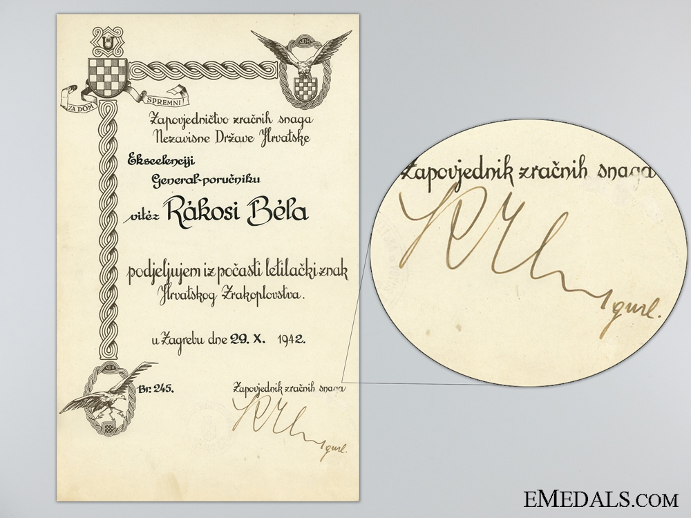 Croatian Award Document for the Honorary Pilot's Badge