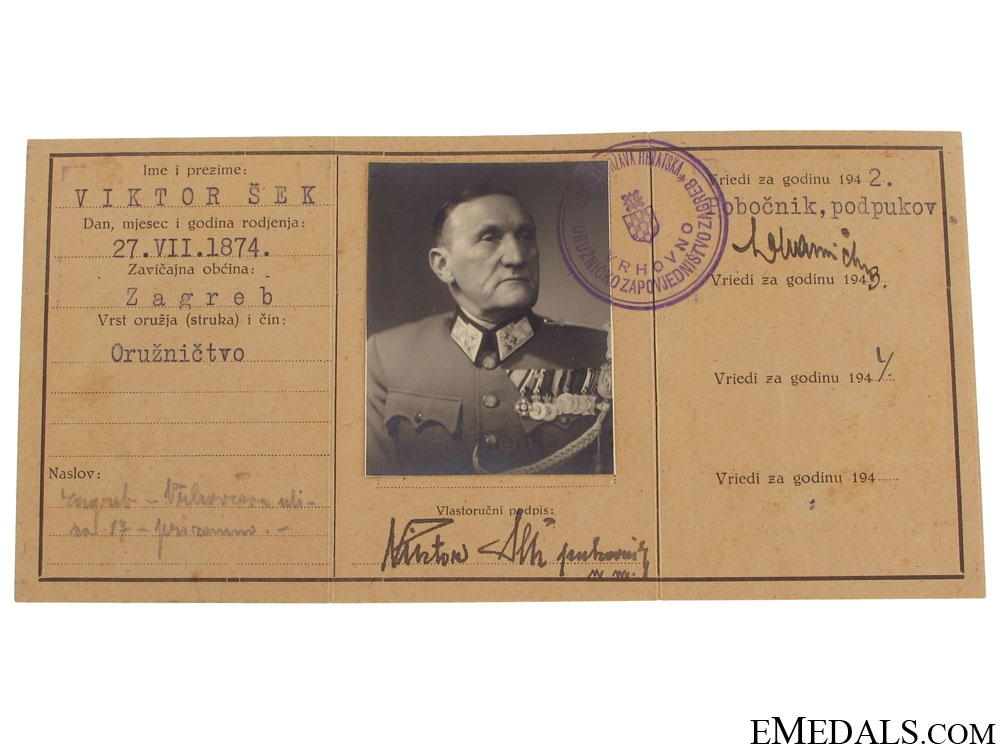 Croatian Colonel ID with Photo, Zagreb 1941