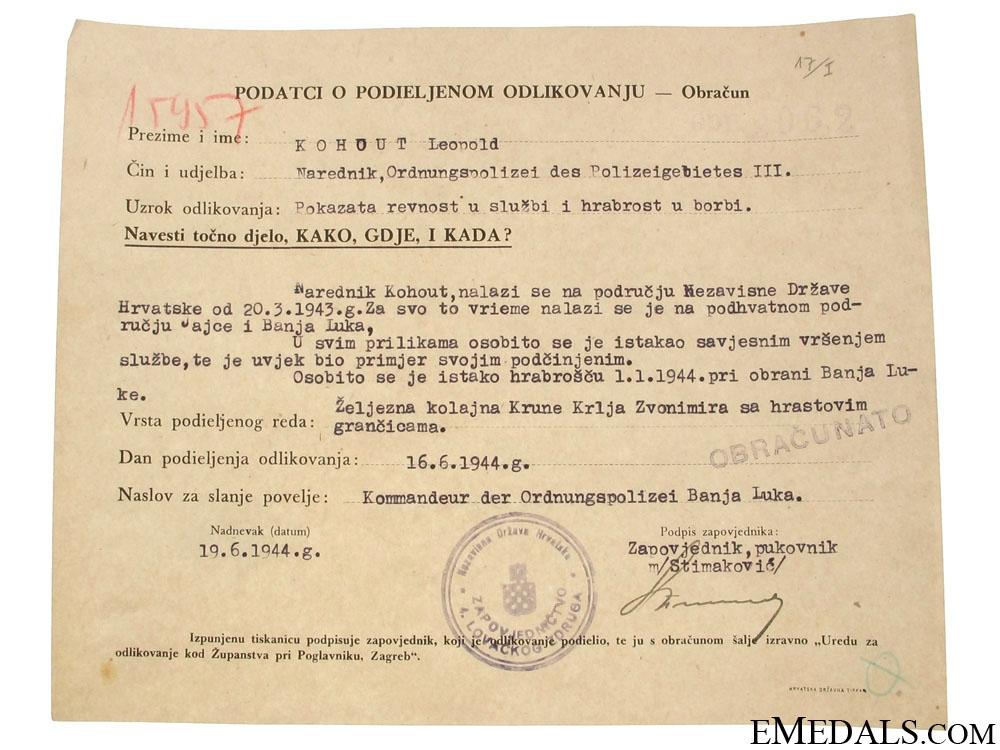 Croatian WWII Original Document