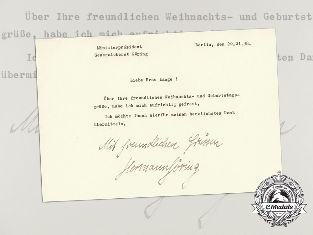 A thank you letter for christmas birthday greetings signed by a thank you letter for christmas birthday greetings signed by hermann gring m4hsunfo