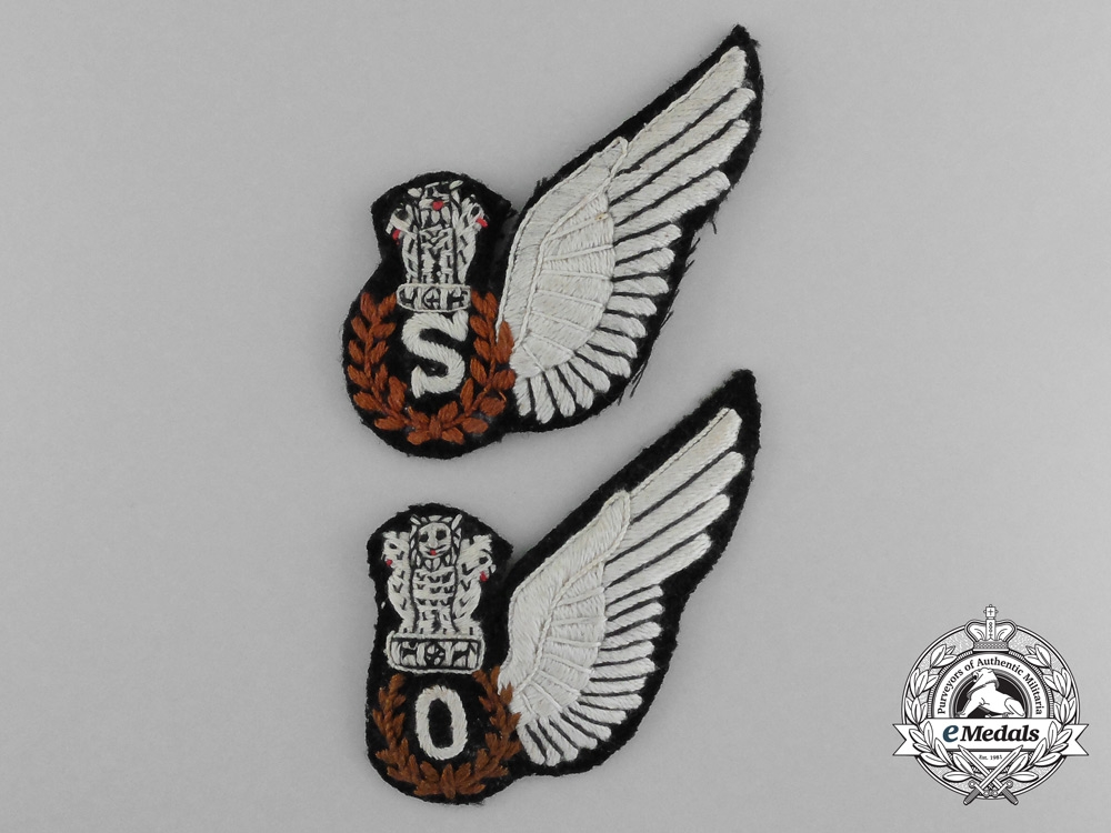 Two Royal Air Force (RAF); Indian Aircrew Brevets