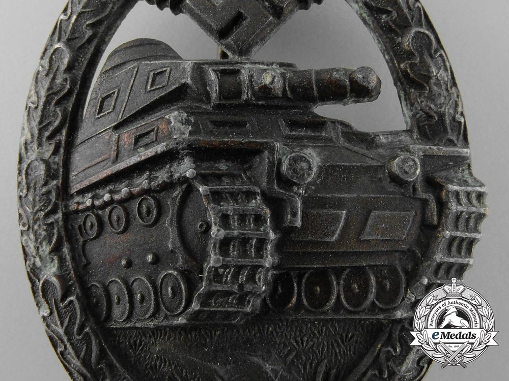 A German Tank Badge by Juncker; Bronze Grade