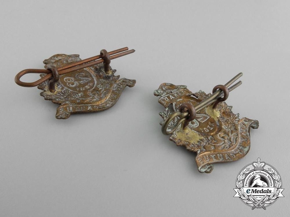 A Set of Post-1900 28th Perth Regiment Collar Badges