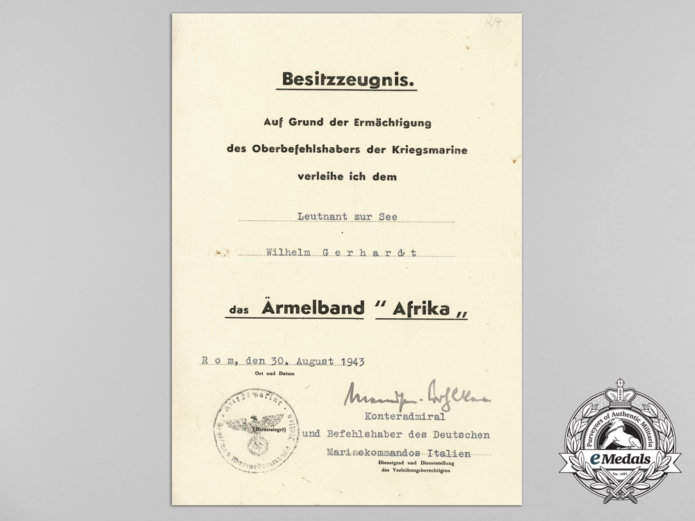 An Extensive Collection of Career Documents of Senior-Lieutenant Wilhelm Gerhardt of the 6th Mine Clearing Flotilla