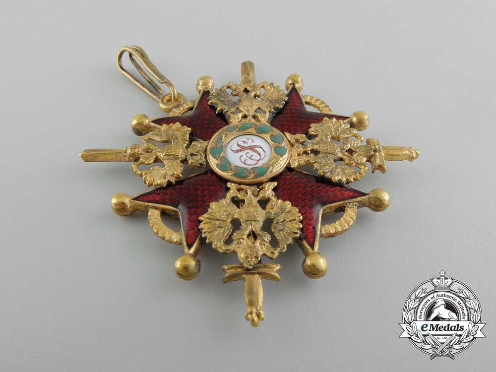 A First War Russian Order of St. Stanislaus Military Division; Third Class by Keibel