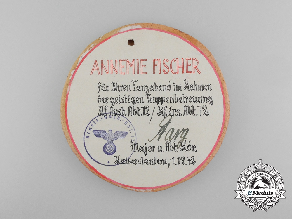 Germany, Third Reich. A City of Kaiserlautern Motor Vehicle Reserve Department 12 Award to a Female 1942
