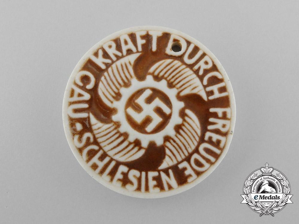 A Third Reich Period District Silesia Strength Through Joy Celebration Badge