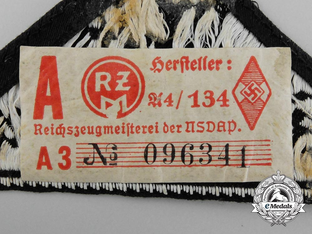 An HJ West Cologne-Aachen District Sleeve Patch; RZM Tagged
