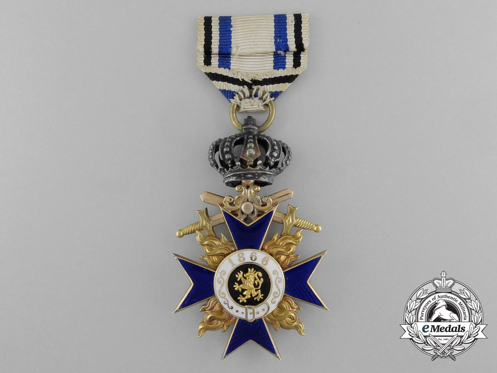 A Bavarian Military Merit Order; 3rd Class with Crown and Swords in Gold