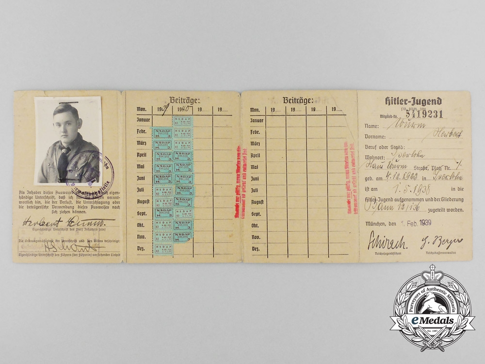 A HJ Membership Booklet Belonging to Herbert Durm