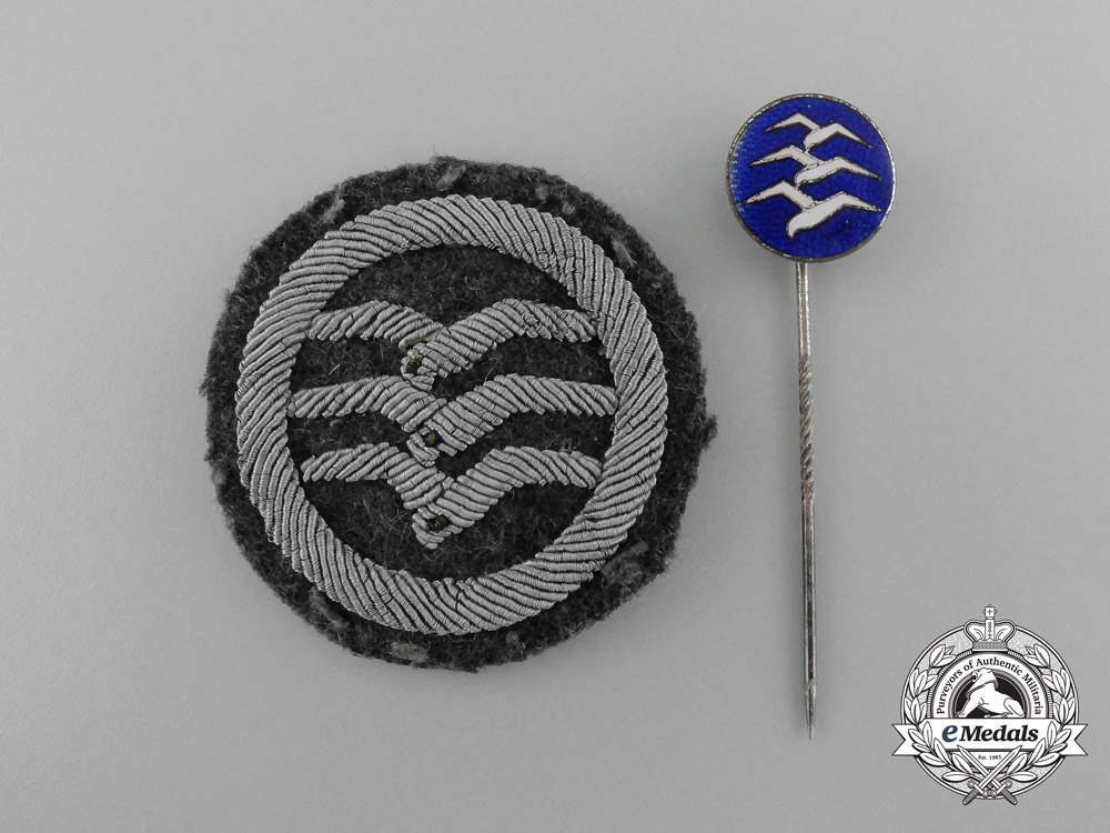 "A Civil Gliding Proficiency ""C"" Class Stick Pin and Cloth Patch"