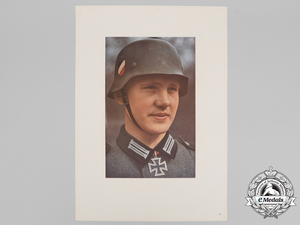 A Large Colour Print of Huberth Brinkforth; First Enlisted Man to receive the Knight's Cross