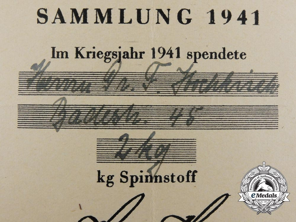 Two Wartime Donation Certificates to Dr. Hochkirch