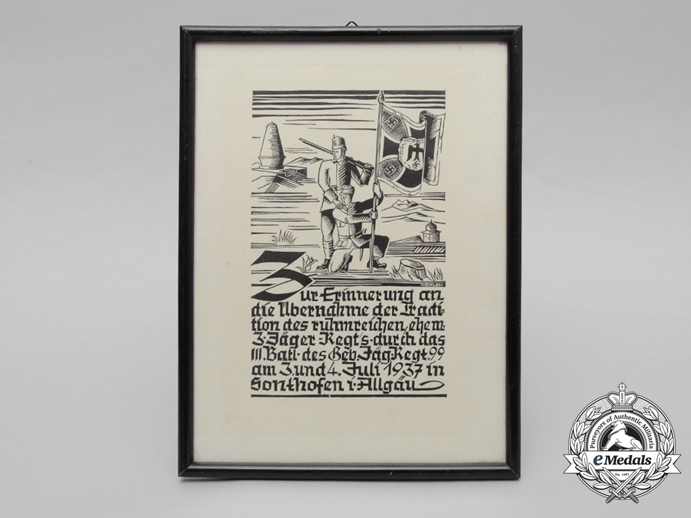 A Framed Mountain Troop Regiment 99 Military Traditions Document