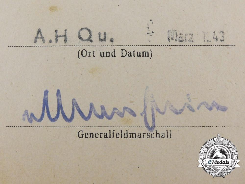 A Krim Shield Document & Cloth E-Boat Badge to KC Recipient Kommandant Kurt Fimmen