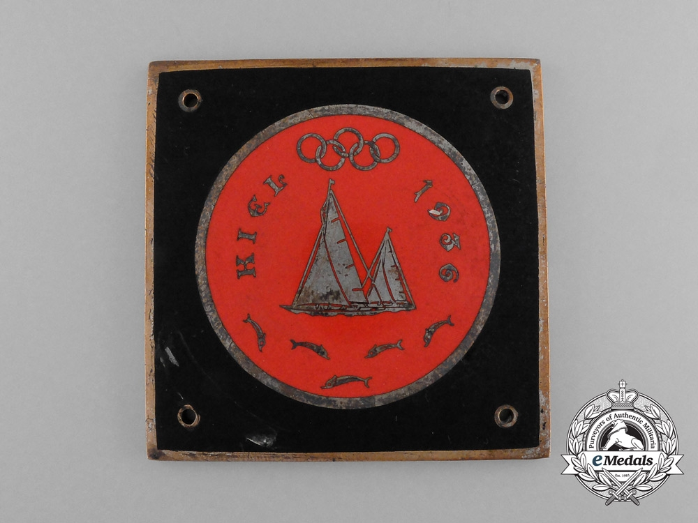 Germany, Olympics. A 1936 Kiel Sailing Event Car Plaquette by M. Hansen