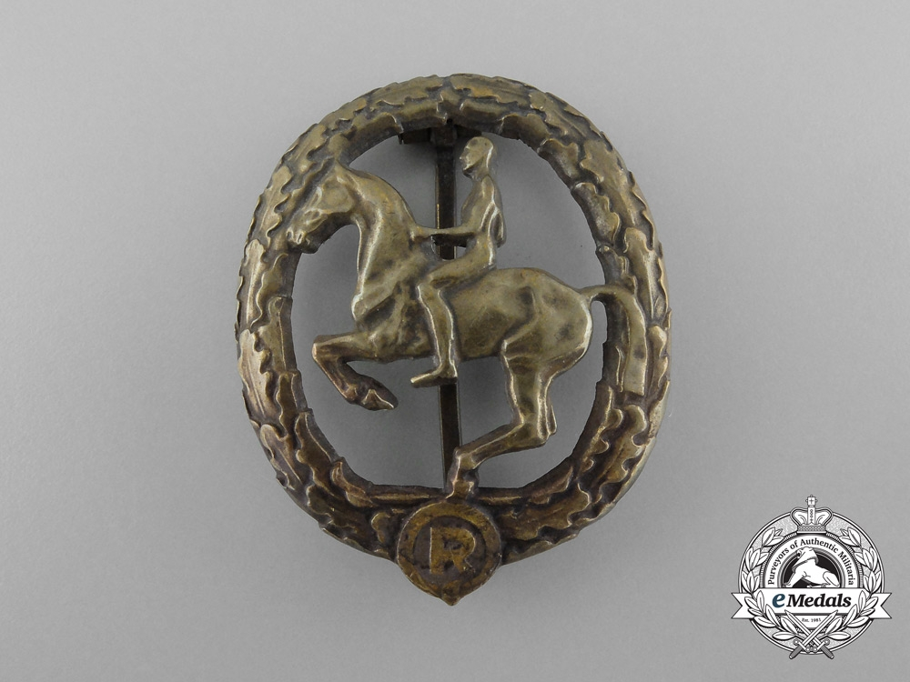 A German Bronze Grade Horseman's Badge by L. Chr. Lauer