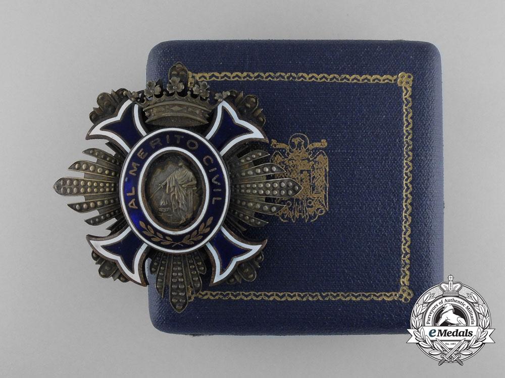 Spain, Kingdom. An Order of Civil Merit, Breast Star Ladies' Version with Case