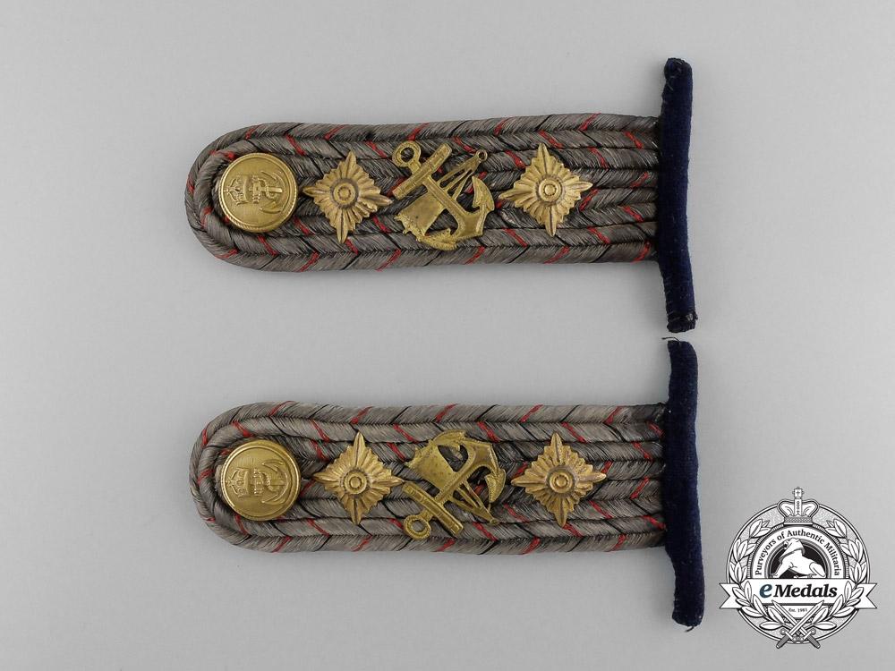 An Imperial German Navy (Kaiserliche Marine) Kapitanleutnant Torpedoman Shoulder Board Pair