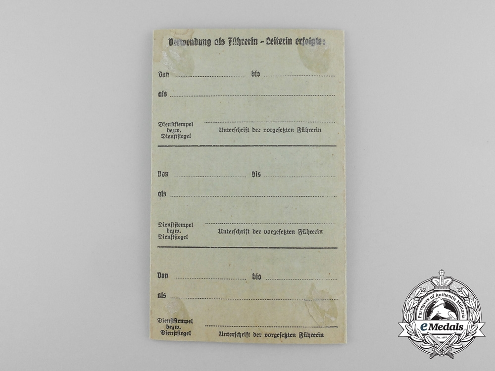 A Leader ID Card League of German Girls (BDM)