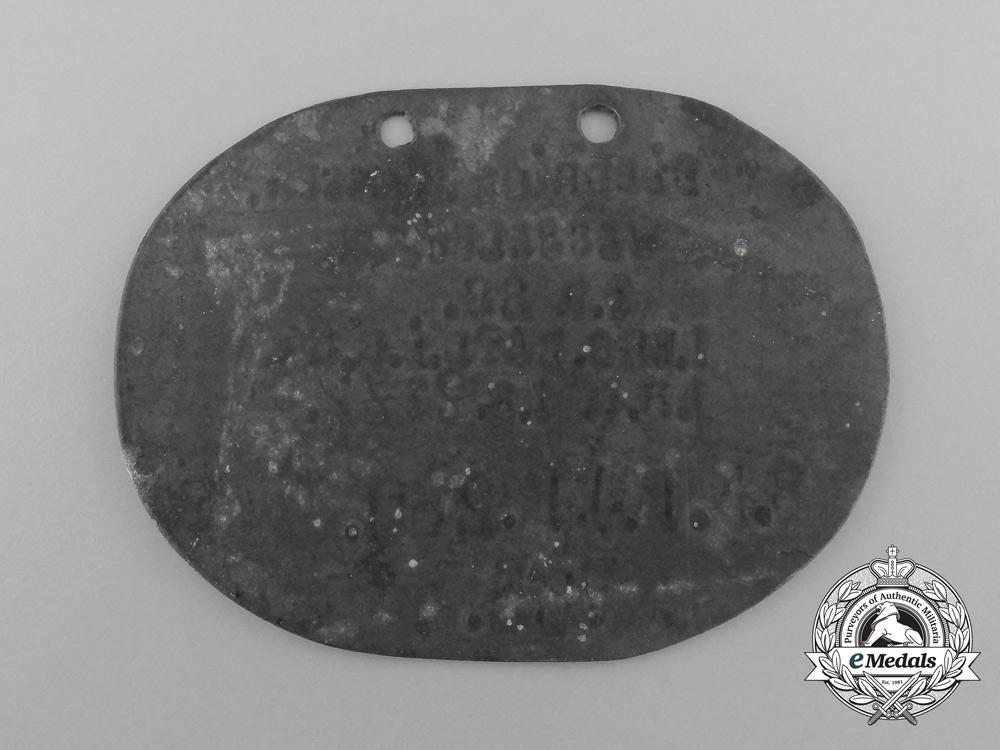 A First War German ID Disc Belonging to Diedrich Numsen