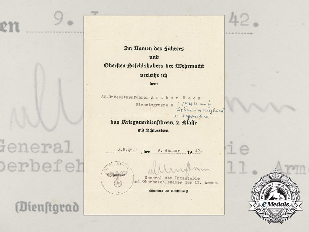 A 1942 War Merit Cross Award Document to SS-Untersturmführer Keck KIA