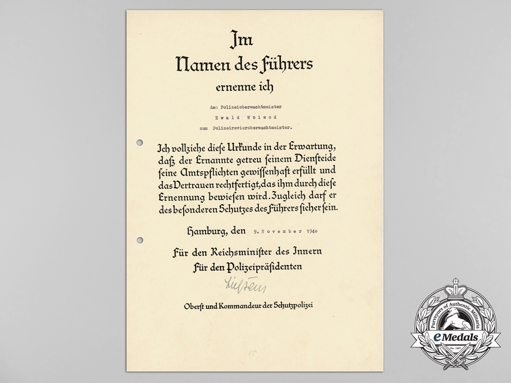 Germany, SS. A Fine Document Group to the 5th SS Polizei, Regiment 16