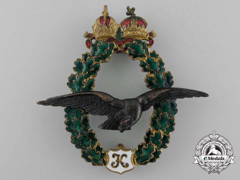 An Austrian Field Pilot Badge; Type II, Karl I (1917), Fullsize and Miniature