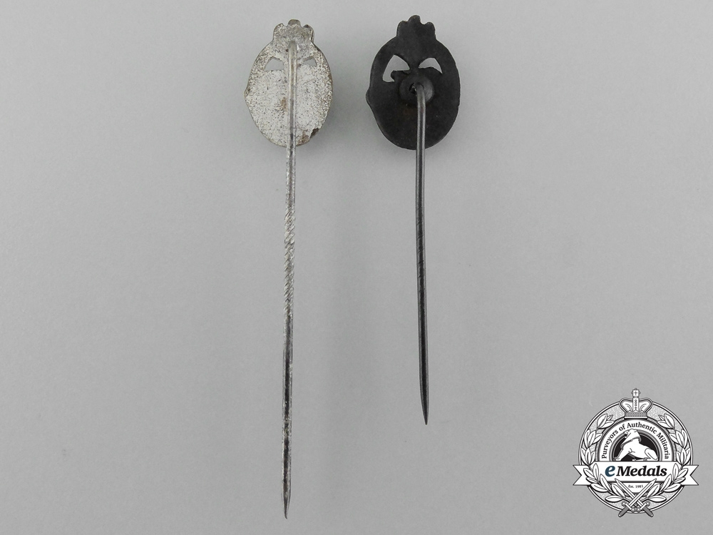 A Lot of Two Miniature Panzer Badge Stickpins; Bronze and Silver Grade