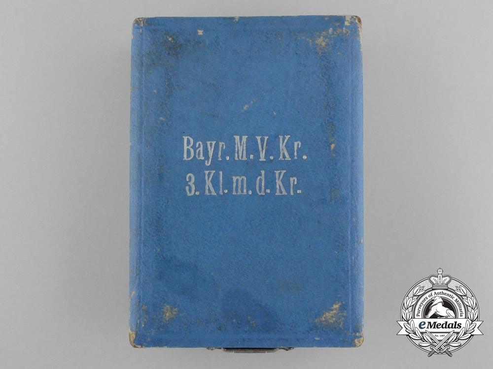 A Bavarian Military Merit Cross with Swords & Crown in Case by Deschler & Sohn
