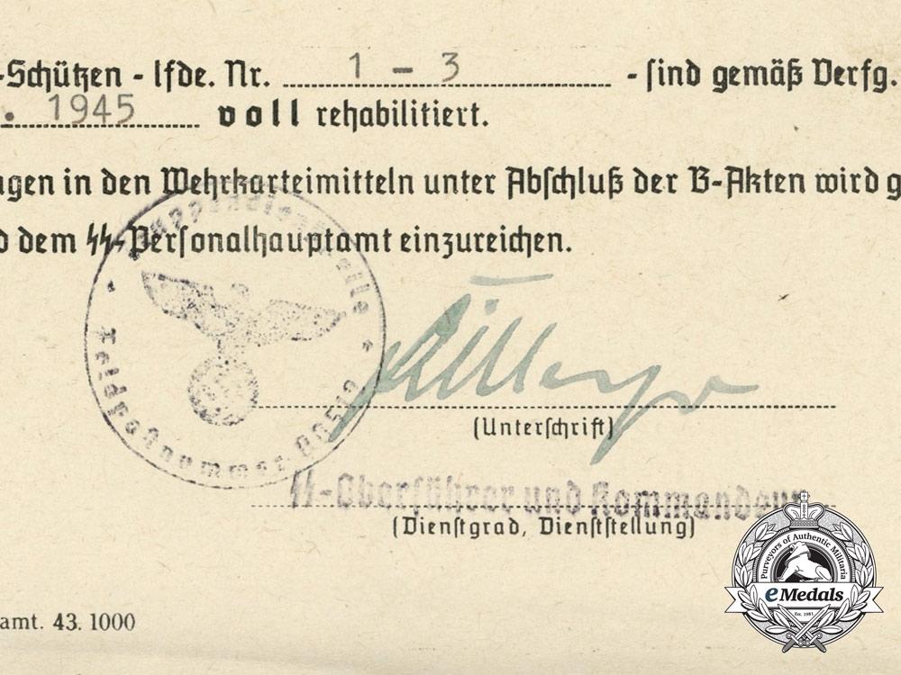 A Rehabilitation Letter from SS-Oberführer Dirlewanger; 36th Waffen Grenadier Division