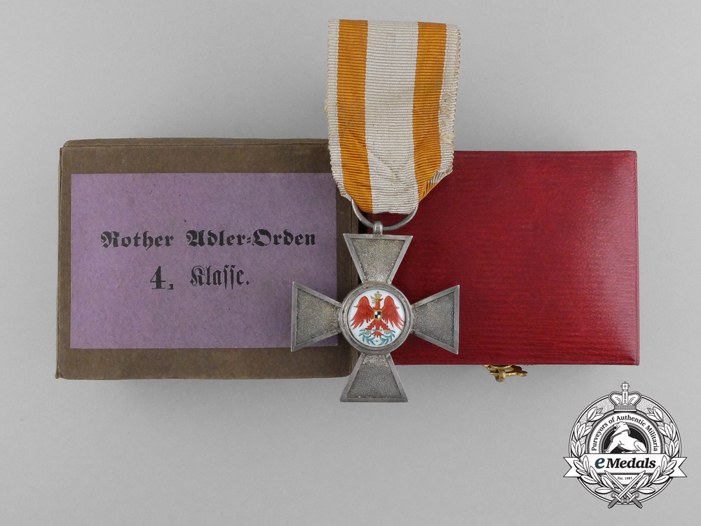 A Prussian Order of the Red Eagle; 4th Class in Case & Carton by Wagner
