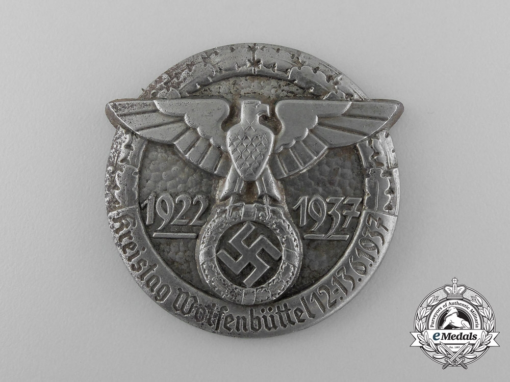 Germany, Third Reich. A 1937 Wolfenbüttel District Council Day Badge
