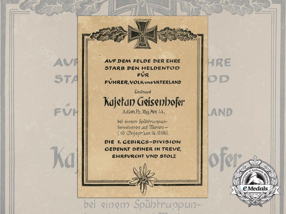 A Hero's Death Certificate in Honour of the Fallen Soldier Lieutenant Kajetan Geisenhofer