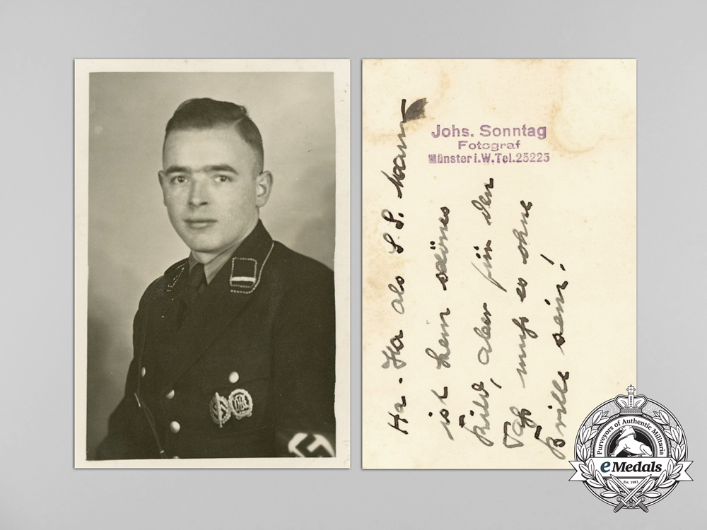 Germany, SS. Three Photographs; SS Member & SS Guards at the Feldherrnhalle