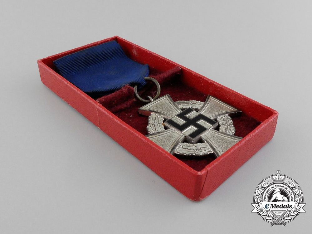 A German 25-Year Faithful Service Cross; 2nd Class; In its Original Case of Issue by Paul Meybauer