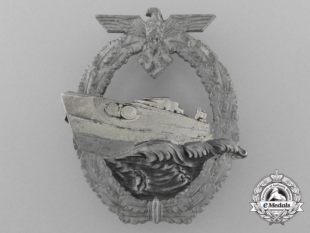 A Second Pattern Kriegsmarine E-Boat Badge by Schwerin in its Original Carton