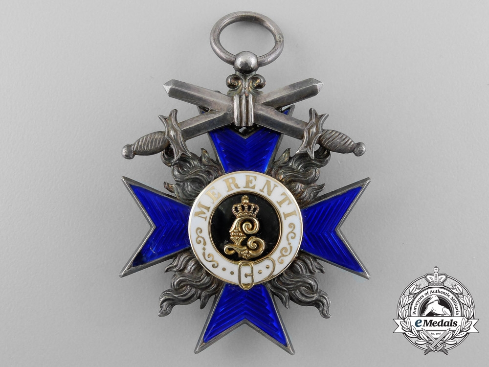 A Cased Bavarian Military Merit Order, 4th Class with Crown and Swords
