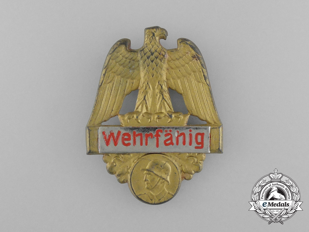 """A Third Reich Period """"Fit for Military Service"""" Badge"""