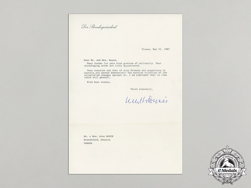 A 1987 Letter from Former UN Secretary-General and President of Austria Kurt Waldheim