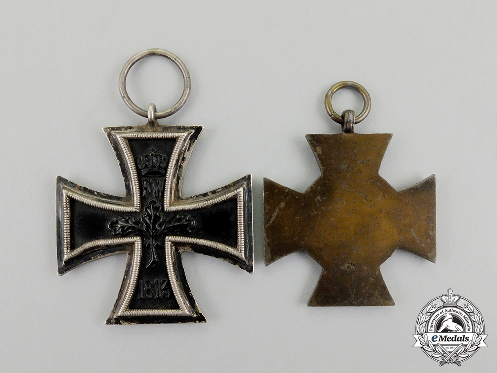 An Iron Cross 1914 Second Class with a Non-Combatant Hindenburg Cross