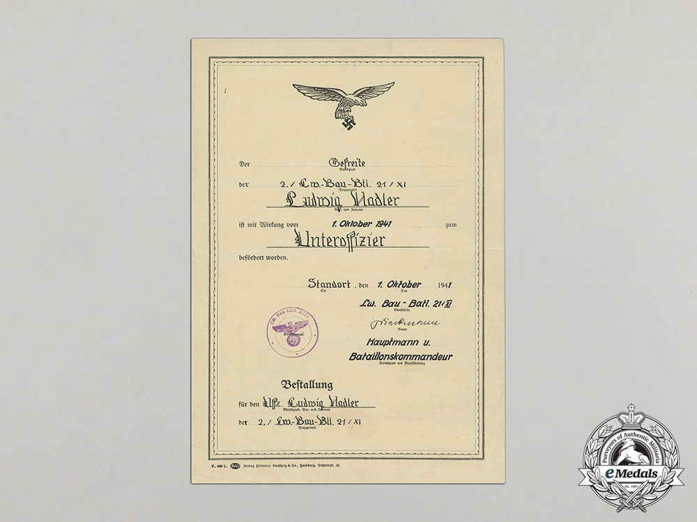 Germany, Luftwaffe. An Unusual Promotion Document to NCO Ludwig Hadler; Construction Battalion