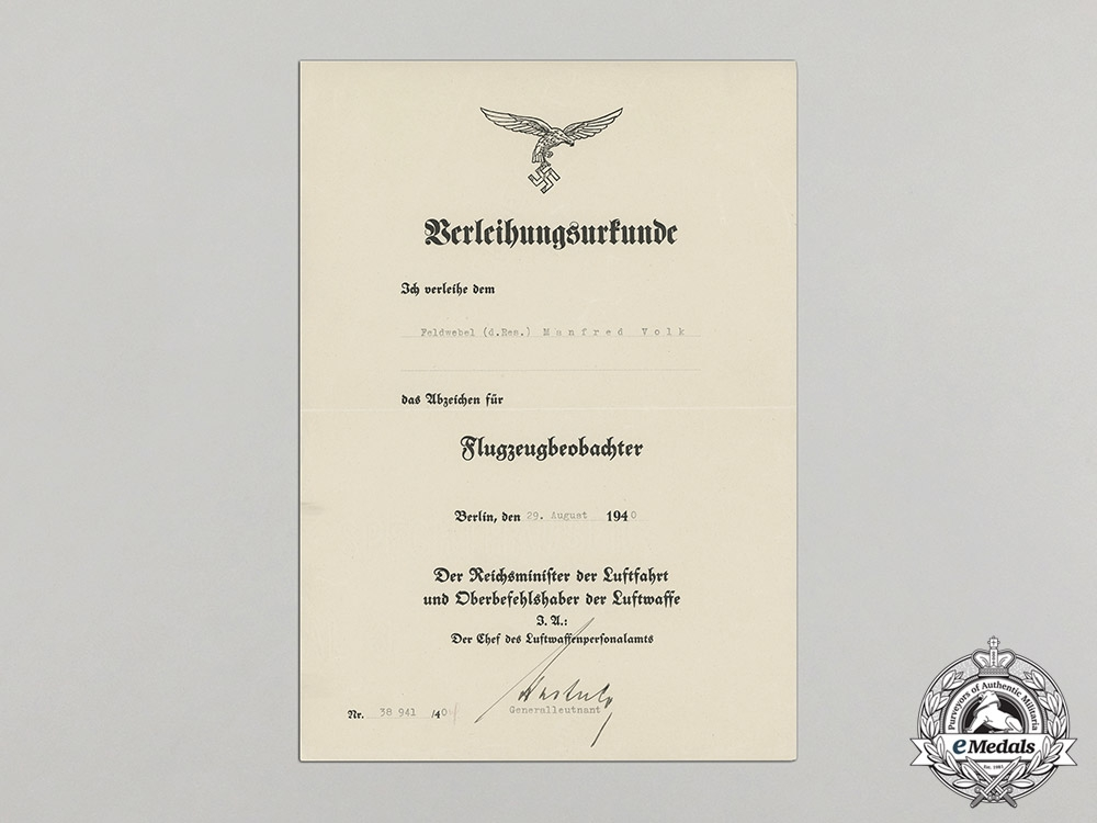 An Luftwaffe Award Document for a Observers Badge Presented to Sergeant Manfred Volk