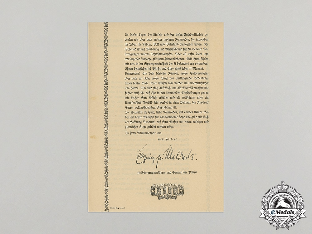 An Uplifting 1942 Christmas Note From the SS Leadership to his SS Men and Comrades