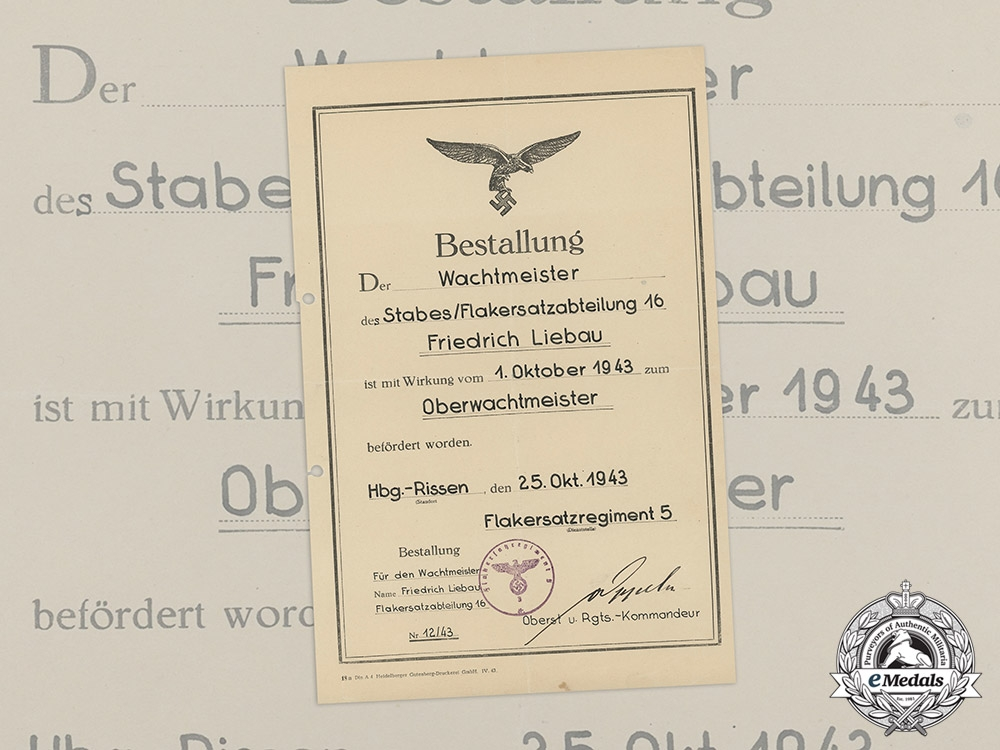 A Luftwaffe Promotional Document Promoting Friedrich Liebau to Flak Master Sergeant