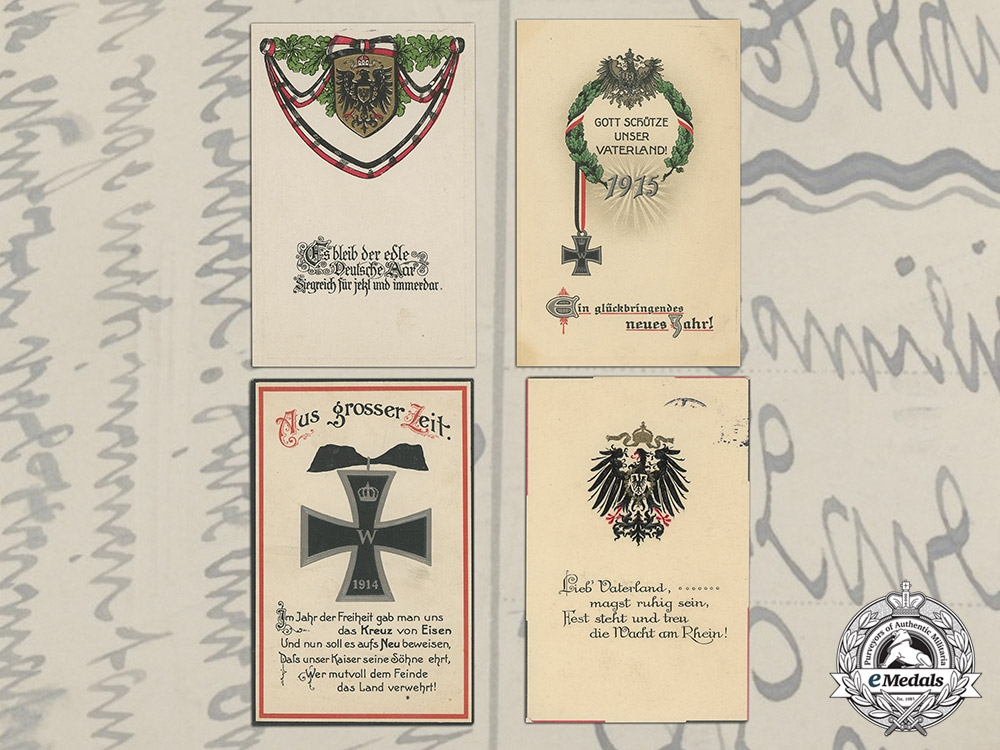 Four First War Coloured Feldpost Cards